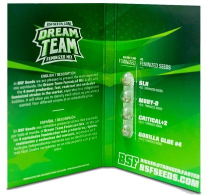 Packaging of Dream Team Feminized Mix weeds seeds kit